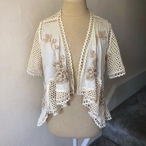 Anthropologie K&K Crochet Floral Appliqué Cardigan